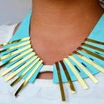 Leather Collar Necklace Geometric M..