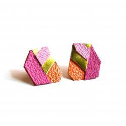 Geometric Leather Earrings Neon Hexagons